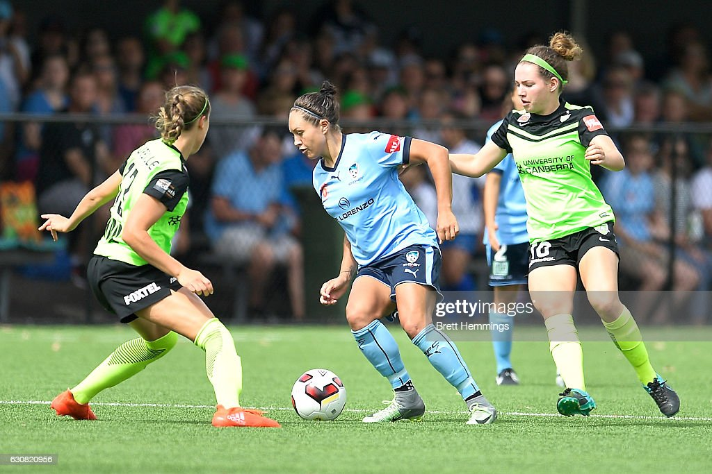 Kyah Simon of Sydney controls the ball during the round 10 W-League match between Sydney and Canberra at Lambert Park on January 3, 2017 in Sydney, Australia.