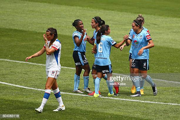 Kyah Simon of Sydney FC celebrates with her team after scoring a goal during the round 13 WLeague match between Sydney FC and the Newcastle Jets at...