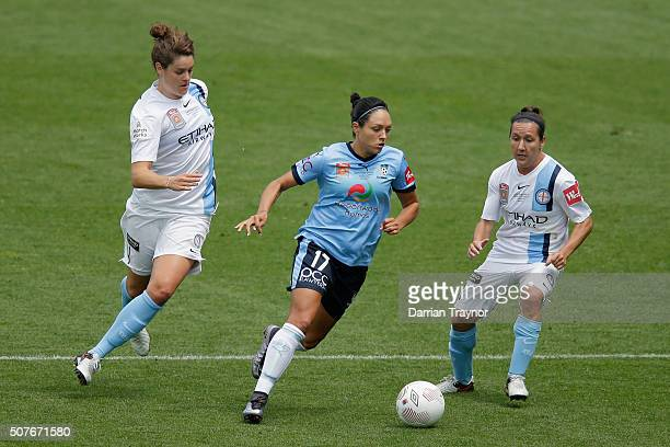 Kyah Simon of Sydney FC evades Lisa De Vanna of Melbourne City during the 2016 WLeague Grand Final match between Melbourne Victory and Sydney FC at...