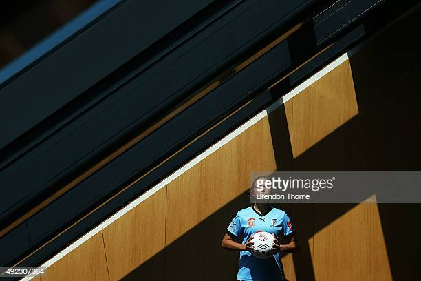 Kyah Simon of Sydney FC poses following the 2015/16 WLeague season launch at Westfield Towers on October 12 2015 in Sydney Australia