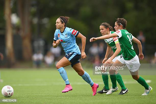 Kyah Simon of Sydney FC takes the ball past the United defenders during the round six WLeague match between Sydney FC and Canberra United at Lambert...