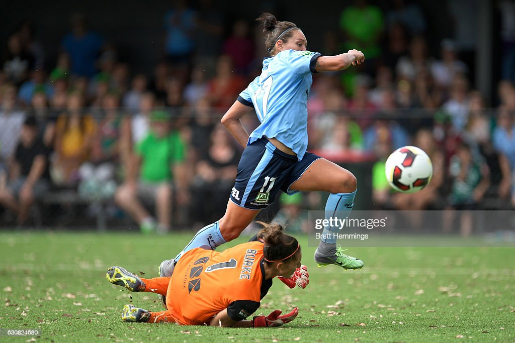 Kyah Simon of Sydney scores a goal during the round 10 W-League match between Sydney and Canberra at Lambert Park on January 3, 2017 in Sydney, Australia.
