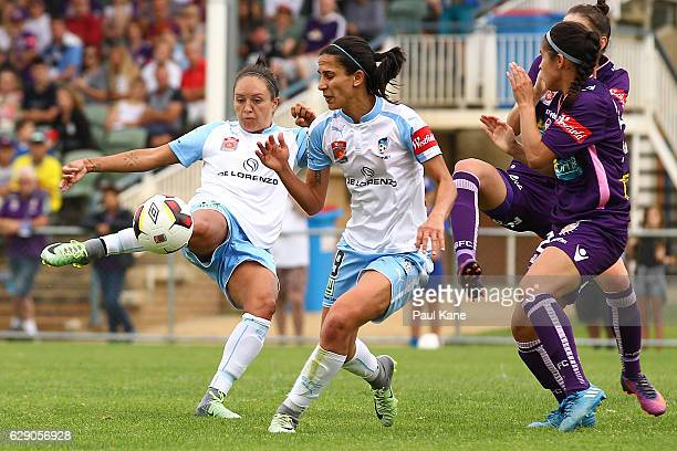 Kyah Simon of Sydney takes a shot on goal during the round six WLeague match between the Perth Glory and Sydney FC at Dorrien Gardens on December 11...