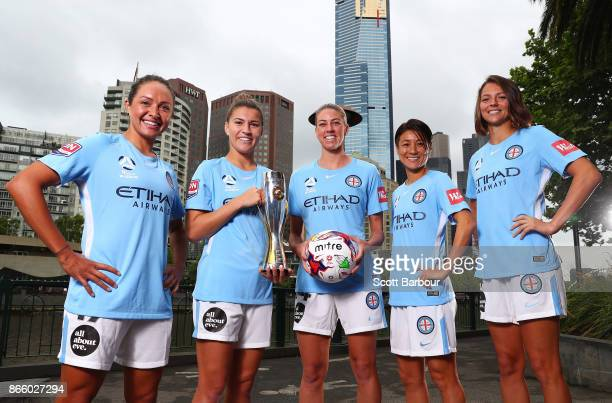 Kyah Simon Steph Catley Alanna Kennedy Yukari Kinga and Ashley Hatch of Melbourne City Womens team pose with the WLeague trophy during a Melbourne...