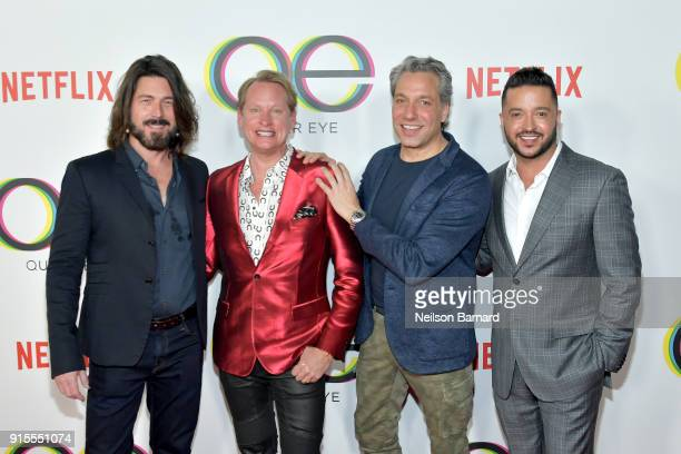 Kyan Douglas Carson Kressley Thom Filicia and Jai Rodriguez attend the premiere of Netflix's 'Queer Eye' Season 1 at Pacific Design Center on...