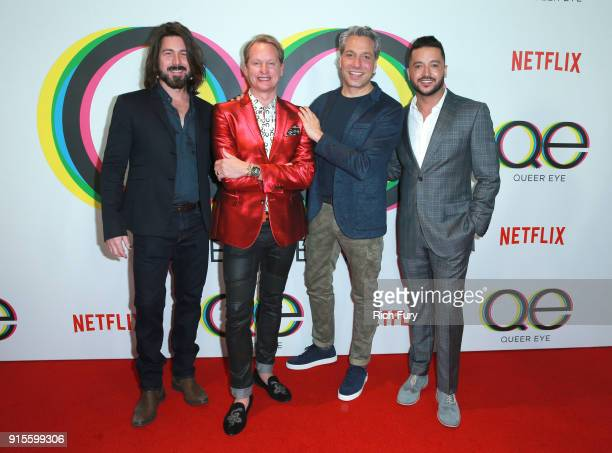 Kyan Douglas Carson Kressley Thom Filicia and Jai Rodriguez attend Netflix's Queer Eye premiere screening and after party on February 7 2018 in West...