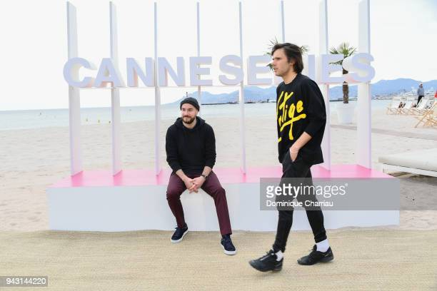 Kyan Khojandi and Orelsan pose during the 1st Cannes International Series Festival on April 7 2018 in Cannes France