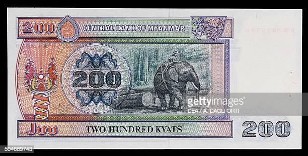 Kyats banknote, 1990-1999, reverse, elephant. Myanmar , 20th century.