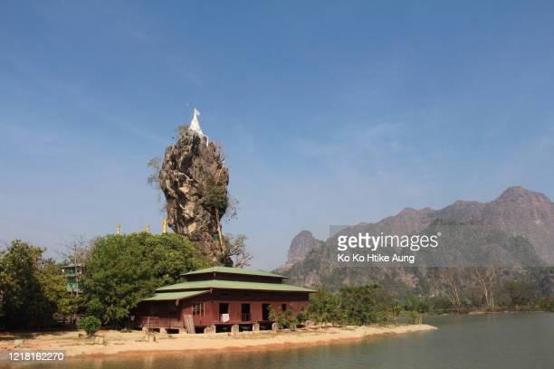 kyauk kalat pagoda - ko ko htike aung stock pictures, royalty-free photos & images