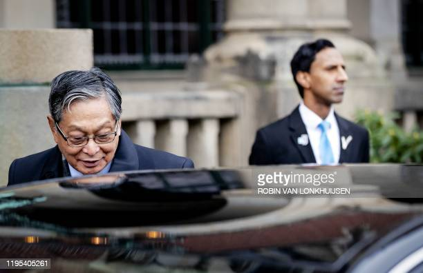Kyaw Tint Swe, Union Minister of Myanmar, leaves the International Court of Justice in The Hague, on January 23, 2020 after the ruling in the lawsuit...