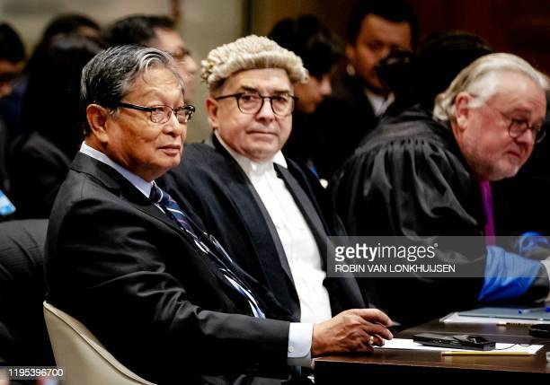 Kyaw Tint Swe Union Minister of Myanmar looks on during the ruling of the International Court of Justice in The Hague on January 23 2020 in the...