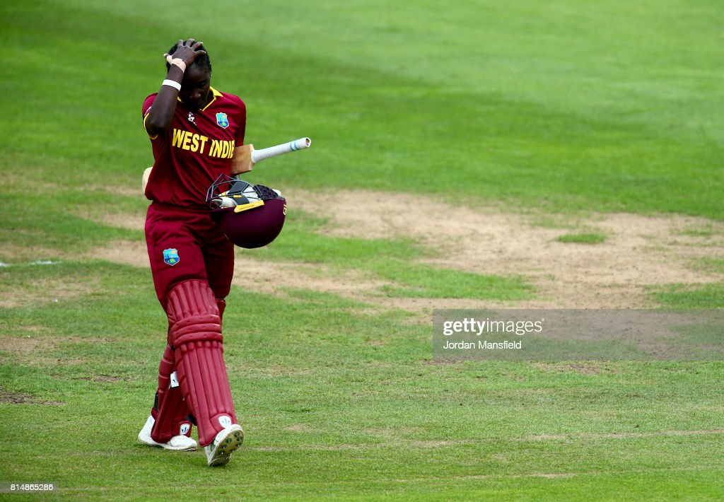 Kycia Knight of West Indies walks off the field after being run out by Sarah Taylor of England during the ICC Women's World Cup 2017 match between England and West Indies at The County Ground on July 15, 2017 in Bristol, England.