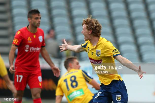 Kye Rowles of the Central Coast Mariners celebrates a goal during the round 11 ALeague match between the Central Coast Mariners and Adelaide United...