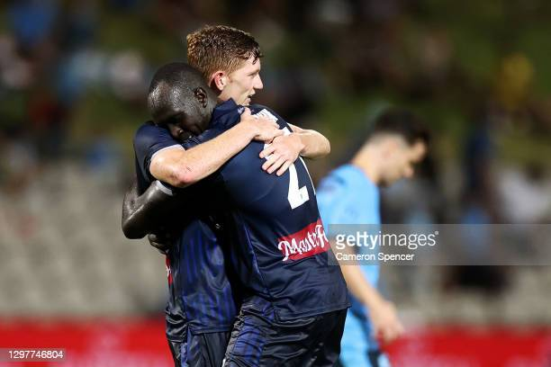 Kye Rowles of the Mariners and Ruon Tongyik of the Mariners celebrate winning the A-League match between Sydney FC and the Central Coast Mariners at...