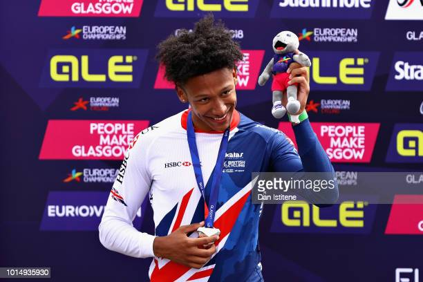 Kye Whyte of Great Britain celebrates winning silver after the Men's Final during the BMX on Day Ten of the European Championships Glasgow 2018 on...