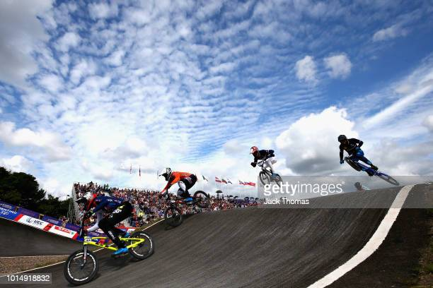 Kye Whyte of Great Britain leads the field in Heat 1 of the Mens Semi Final during the BMX on Day Ten of the European Championships Glasgow 2018 on...