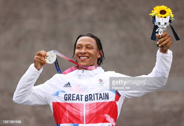 Kye Whyte of Team Great Britain poses with the silver medal after the Men's BMX final on day seven of the Tokyo 2020 Olympic Games at Ariake Urban...
