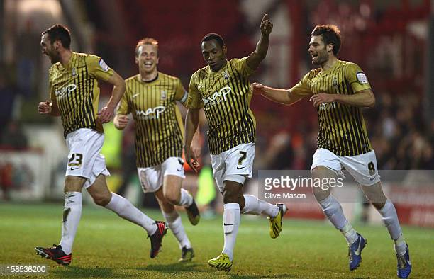 Kyel Reid of Bradford City celebrates his goal during the FA Cup with Budweiser, Second Round replay match between Brentford and Bradford City at...