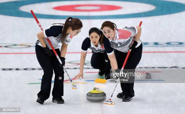 KyeongAe Kim of Korea delivers a stone during the Women's Gold Medal Game between Sweden and Korea on day sixteen of the PyeongChang 2018 Winter...