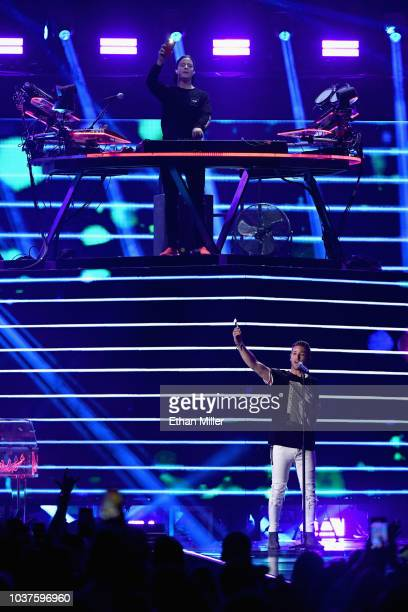 Kygo and Justin Jesso perform onstage during the 2018 iHeartRadio Music Festival at TMobile Arena on September 21 2018 in Las Vegas Nevada