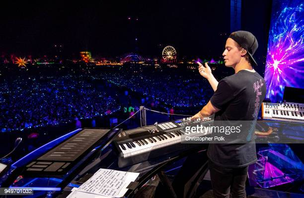 Kygo ends his set with and emotional tribute to Avicii during the 2018 Coachella Valley Music And Arts Festival at the Empire Polo Field on April 20...