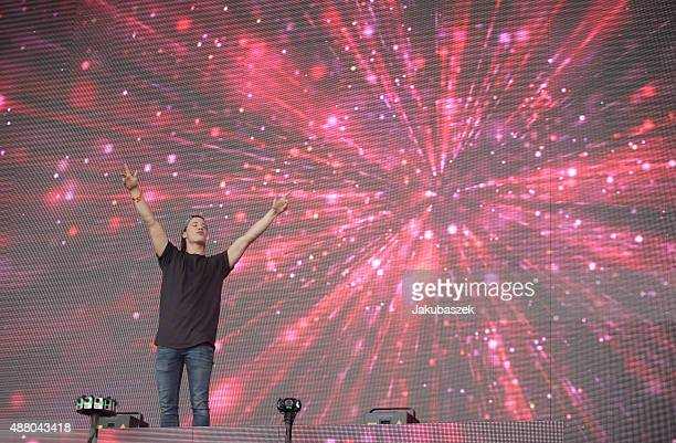 Kygo performs live on stage during the second day of the Lollapalooza Berlin music festival at Tempelhof Airport on September 13 2015 in Berlin...