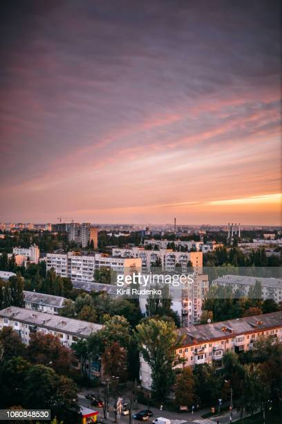 kyiv cityscape in the evening - kiev stock pictures, royalty-free photos & images
