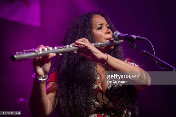 Kyla Brox the winner of the European Blues Challenge 2019 performs with her band on stage at the Blues in Hell Festival on September 7 2019 in...