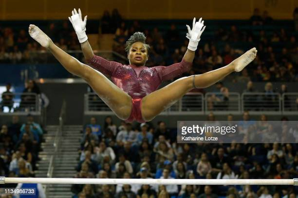 Kyla Bryant of Stanford competes in the uneven parallel bars during a meet against UCLA at Pauley Pavilion on March 10, 2019 in Los Angeles,...