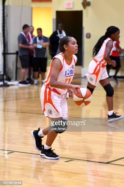 Kyla Deck of South Girls handles the ball against Midwest Girls during the Jr NBA World Championship on August 7 2018 at the ESPN Wide World of...