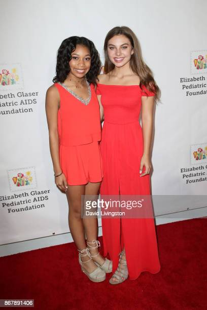 Kyla Drew and Caitlin Carmichael attend the Elizabeth Glaser Pediatric AIDS Foundation's 28th Annual 'A Time For Heroes' Family Festival at Smashbox...