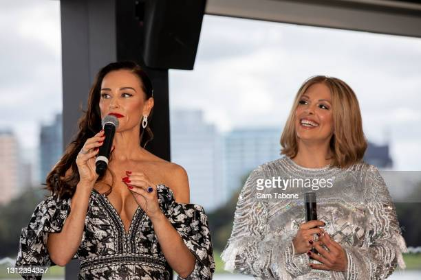 Kyla Kirkpatrick and Anjali Rao attends the cast announcement for The Real Housewives of Melbourne season 5 on April 14, 2021 in Melbourne, Australia.