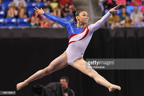 Kyla Ross competes in the floor event during the Senior Women's competition on day four of the Visa Championships at Chaifetz Arena on June 10 2012...