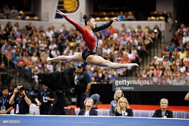 Kyla Ross competes in the women's finals of the 2015 PG Gymnastics Championships at Bankers Life Fieldhouse on August 15 2015 in Indianapolis Indiana