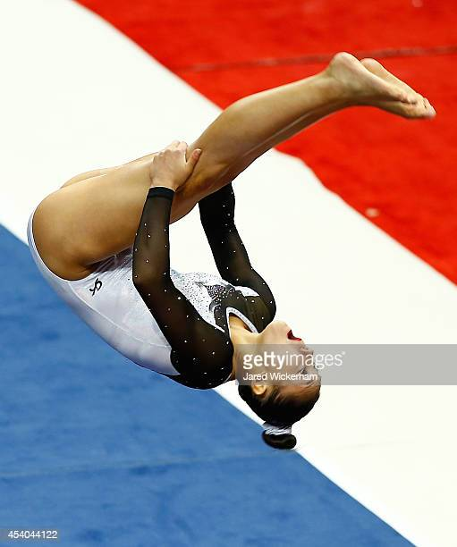 Kyla Ross competes on the floor exercise in the senior women finals during the 2014 PG Gymnastics Championships at Consol Energy Center on August 23...