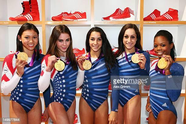 Kyla Ross McKayla Maroney Aly Raisman Jordyn Wieber and Gabrielle Douglas of the United States women's Gymnastics team at the adidas Olympic Media...
