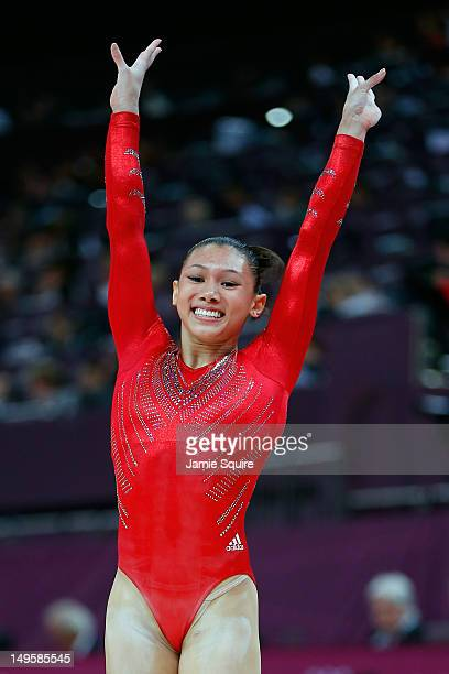 Kyla Ross of the United States reacts after competing on the balance beam in the Artistic Gymnastics Women's Team final on Day 4 of the London 2012...