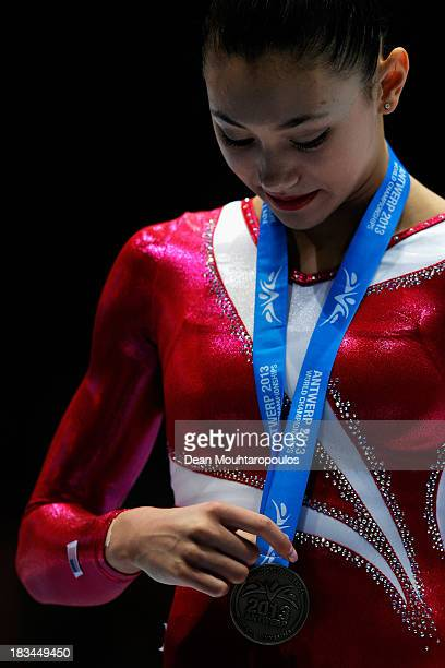 Kyla Ross of USA poses after winning the Silver medal in the Women's balance beam final on Day Seven of the Artistic Gymnastics World Championships...