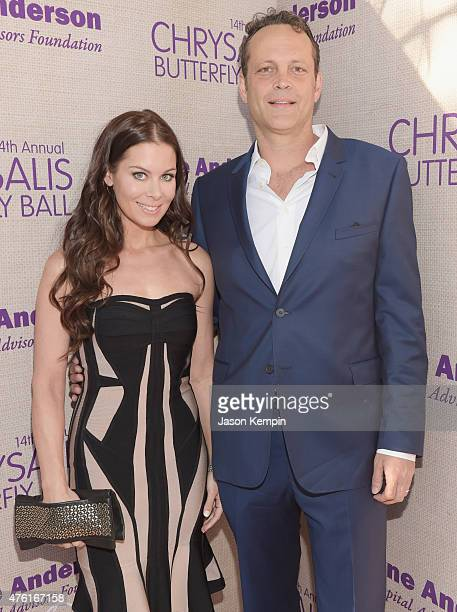 Kyla Weber and actor Vince Vaughn attend the 14th annual Chrysalis Butterfly Ball sponsored by Audi Kayne Anderson Lauren B Beauty and Z Gallerie on...