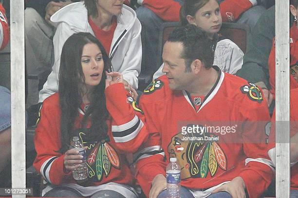 Kyla Weber and Vince Vaughn attend Game One of the 2010 NHL Stanley Cup Finals between the Philadelphia Flyers and Chicago Blackhawks at United...