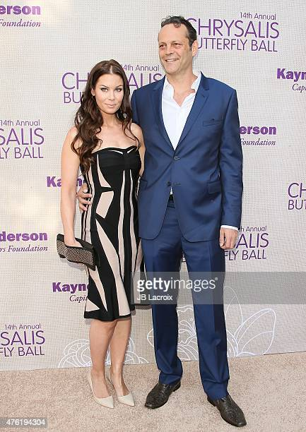 Kyla Weber and Vince Vaughn attend the 14th annual Chrysalis Butterfly Ball sponsored by Audi Kayne Anderson Lauren B Beauty and Z Gallerie on June 6...