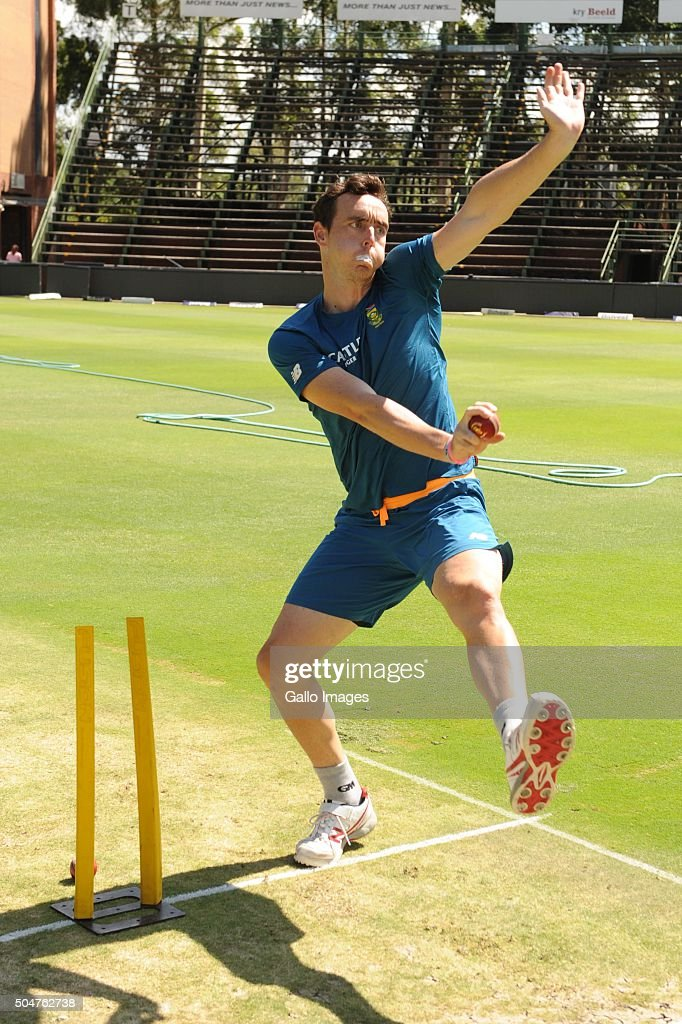 Kyle Abbott during the South African national cricket team training session and captain' press conference at Bidvest Wanderers Stadium on January 13, 2016 in Johannesburg, South Africa.