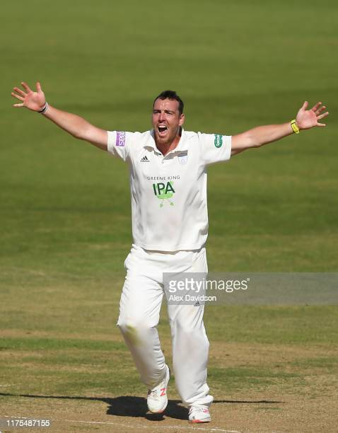 Kyle Abbott of Hampshire appeals successfully for the wicket of Tom Banton of Somerset during Day Three of The Specsavers Division One County...