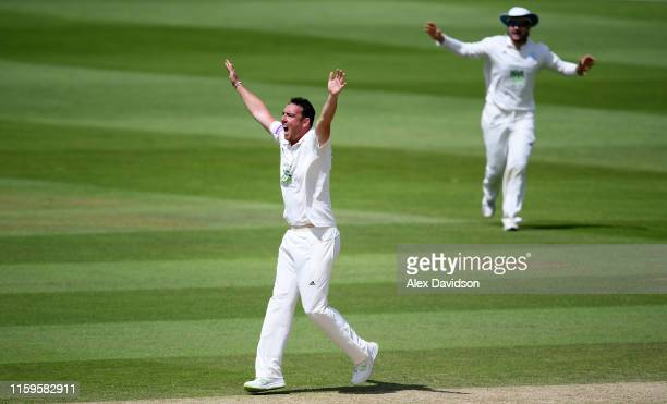 Kyle Abbott of Hampshire appeals unsuccessfully for the wicket of Tom Abell of Somerset during Day Three of the Specsavers County Championship...