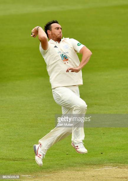 Kyle Abbott of Hampshire bowls during day four of the Specsavers County Championship Division One match between Hampshire and Essex at Ageas Bowl on...