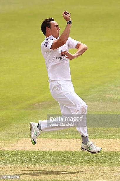 Kyle Abbott of Hampshire bowls during day two of the LV County Championship match between Hampshire and Gloucestershire at the Ageas Bowl on July 8...