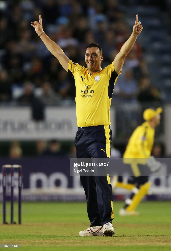Kyle Abbott of Hampshire celebrates taking the wicket of Wayne Marsden of Derbyshire Falcons during the NatWest T20 Blast at The 3aaa County Ground on August 22, 2017 in Derby, England.