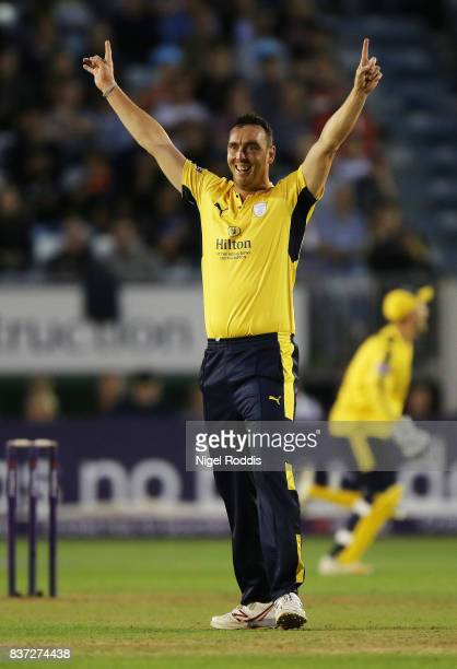 Kyle Abbott of Hampshire celebrates taking the wicket of Wayne Marsden of Derbyshire Falcons during the NatWest T20 Blast at The 3aaa County Ground...