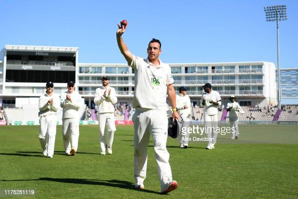 Kyle Abbott of Hampshire walks off after taking nine wickets during Day Two of The Specsavers Division One County Championship match between...