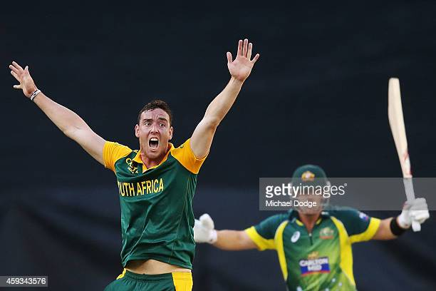 Kyle Abbott of South Africa appeals for LBW against Aaron Finch of Australia during game four of the One Day International series between Australia...